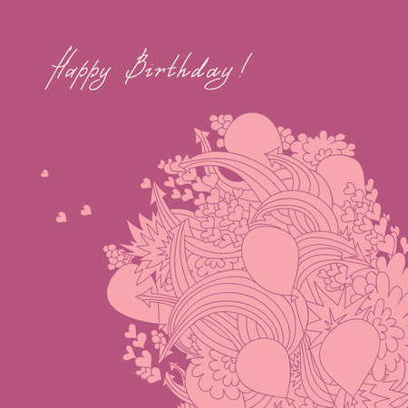 Greeting card with a bundle of balloons, decorated with hearts and arrows