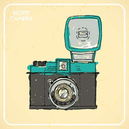 'catch the moment': Vintage camera, hand-drawn, postcard Illustration