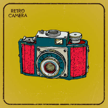 Vintage camera, hand-drawn, postcard Vector