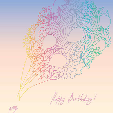 Greeting card with a bundle of balloons, decorated with hearts and arrows Vector
