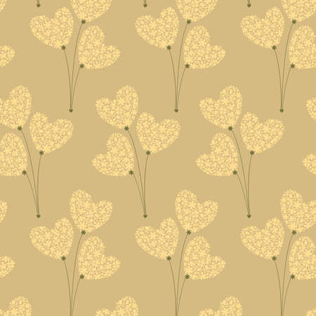Seamless pattern with bouquets of flowers in the form of hearts  Illustration