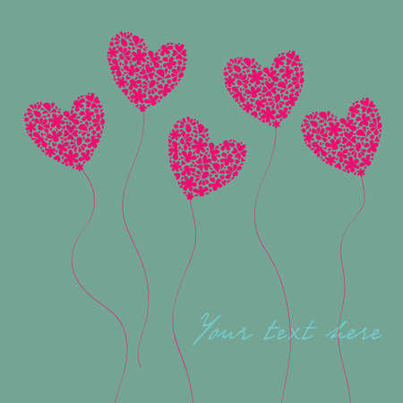 Greeting card with hearts of flowers in the form of balloons