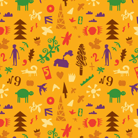 Seamless pattern with different objects from the life of Vector