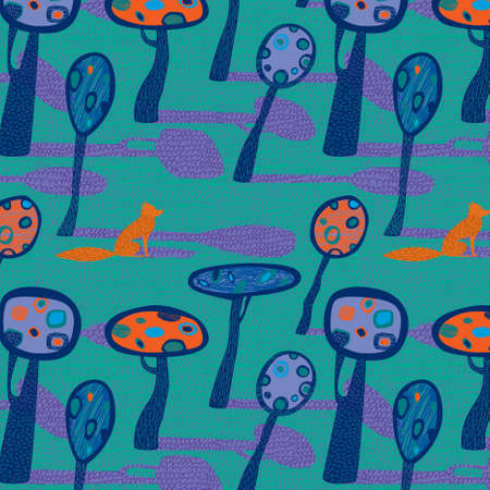 Seamless pattern with stylized trees and animals Illustration