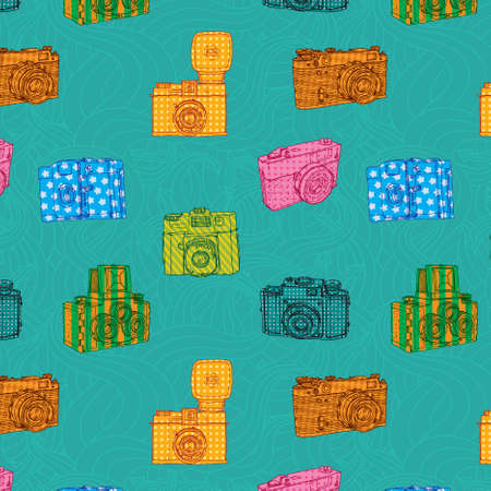 Seamless pattern with vintage cameras