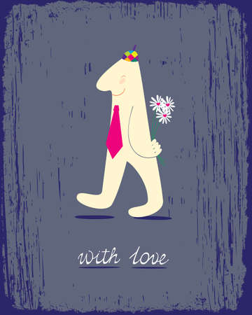 carries: Romantic card with stylized man who carries a bouquet of daisies