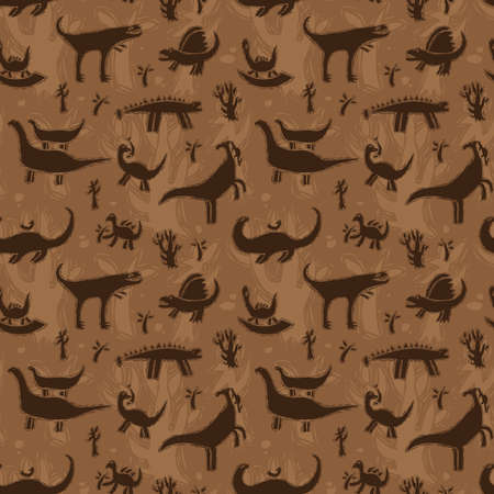 Seamless pattern with dinosaurs on a background of trees