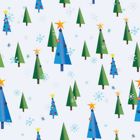 Seamless pattern with Christmas trees, rabbits and squirrels on snow background