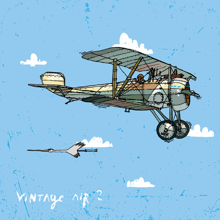 aeronautics: Vector illustration of an old airplane on a background of sky and clouds.