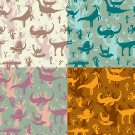 Set of four seamless patterns in different colors to dinosaurs and ancient trees. Vector illustration Illustration