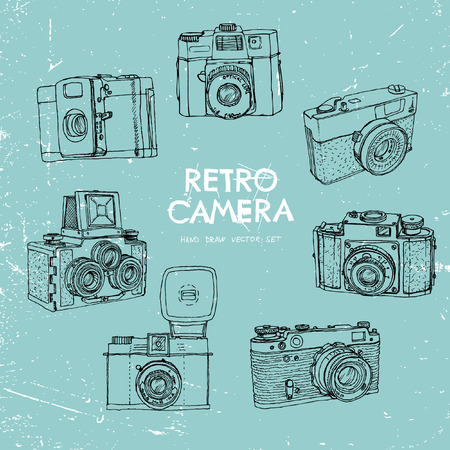 'catch the moment': Vector illustration, a set of vintage cameras, painted by hand.