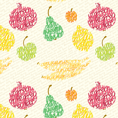 Seamless pattern of fruit and berries, consisting of a hand-written inscriptions on the background of the text Illustration