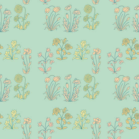botanica: Seamless floral pattern with different flowers