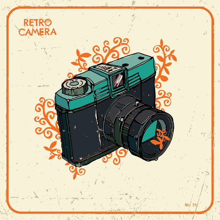 'catch the moment': Vector illustration with retro camera Illustration
