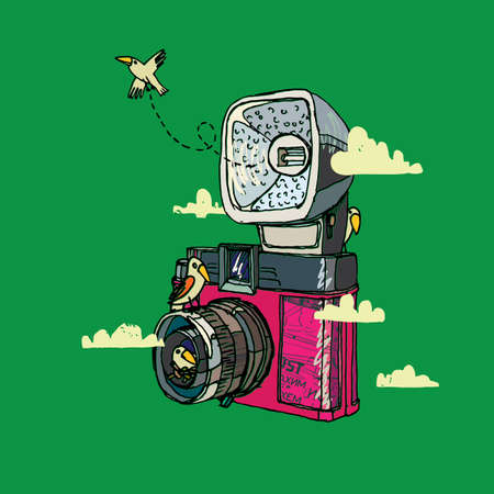 Vector illustration of an retro camera, bird and clouds.