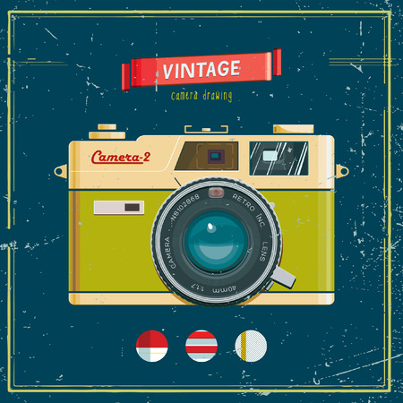 'catch the moment': Vector illustration of an retro camera.