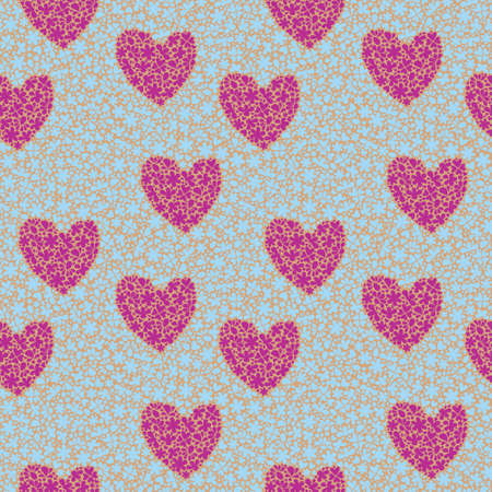 Seamless pattern with decorative hearts on the backgrounds  flowers