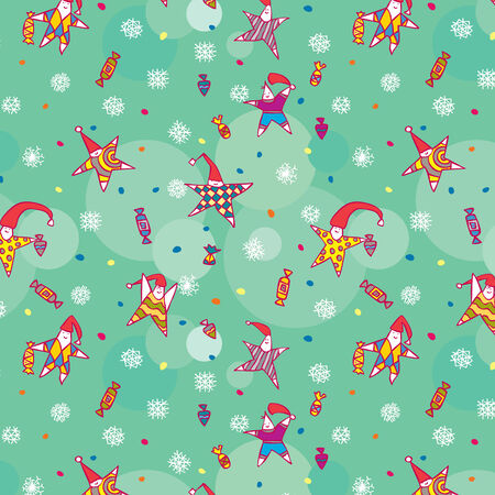 Seamless christmass pattern with a small stars and snowflakes