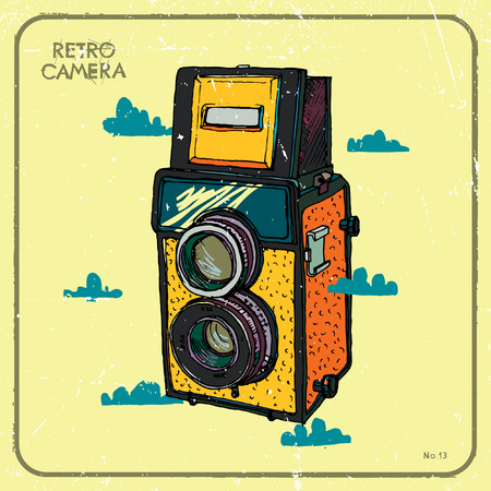 'catch the moment': Vector illustration of an retro camera and clouds.