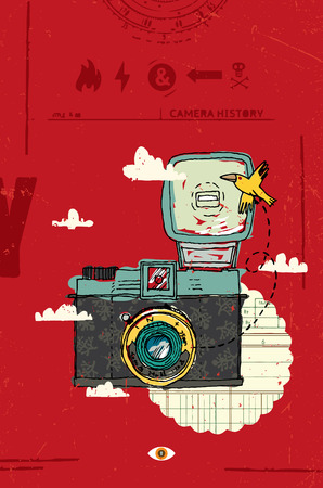 'catch the moment': Vector illustration of an retro camera, bird and clouds.