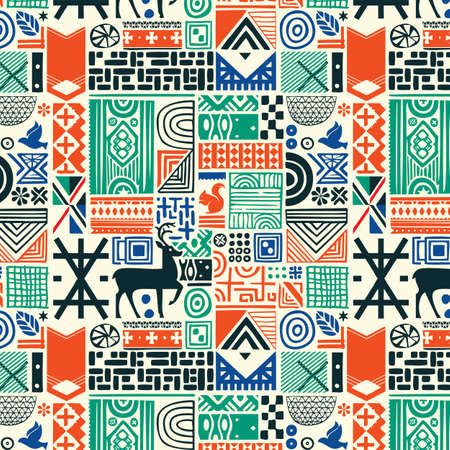 Seamless pattern with deer and northern national patterns. Vector