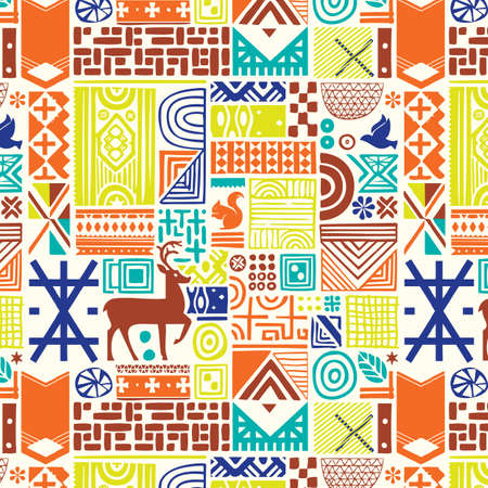 Seamless pattern with deer and northern national patterns. Vector illustration.