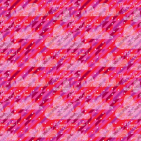 Seamless christmas pattern with decorative clouds and snow on a geometric background. Vector