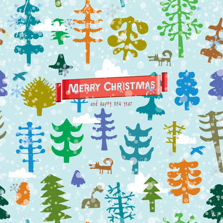 Seamless Christmas pattern with pine forest in snow and clouds. Vector