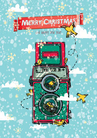 Christmas vector card with retro camera on the background snowflakes. Illustration