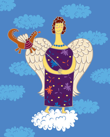 clear sky: Angel holding the leash a little dragon, standing on a cloud against the clear sky and clouds. Illustration