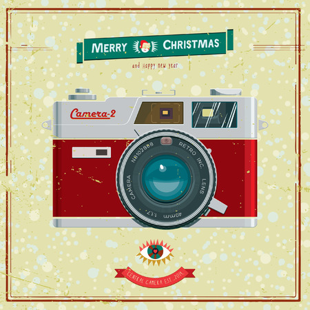 Vector illustration with christmas vintage camera. Greeting card. Vector