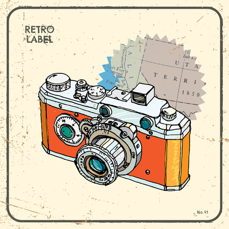 Vector illustration with vintage camera Vector