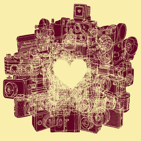 'catch the moment': Greeting card with a heart on the background vintage cameras.