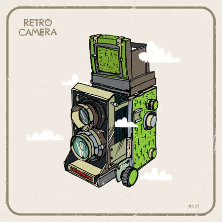 'catch the moment': Vector illustration with vintage camera and clouds. Illustration