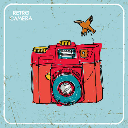 Vector illustration with vintage camera and bird. Vector