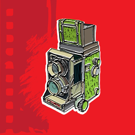 'catch the moment': Vector illustration of an old camera with two lenses.