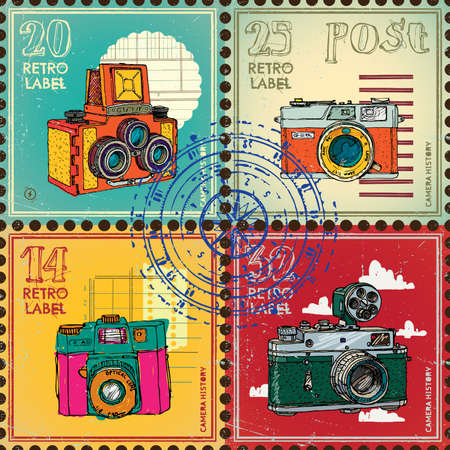 vintages: Postage stamps with vintages cameras. Vector set.