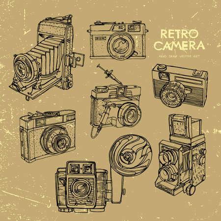 Vector illustration of an retro camera set. Illustration