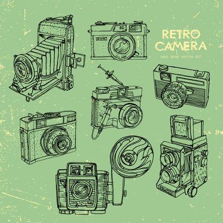 'catch the moment': Vector illustration of an retro camera set. Illustration