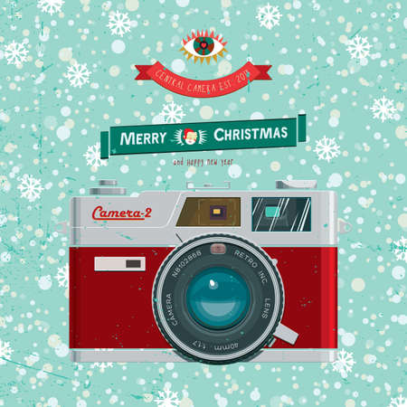 Vector illustration with christmas vintage camera on the backgroynd snow.