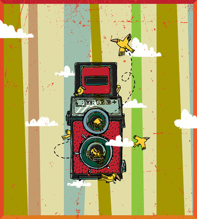 Vector illustration of an old camera with two lenses on the background of clouds Illustration