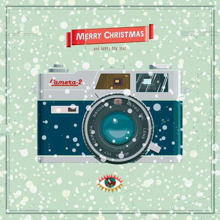 'catch the moment': Vector illustration with christmas vintage camera on the backgroynd snow.