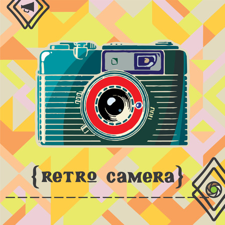 Vector illustration with vintage camera on the geometric background. Vector