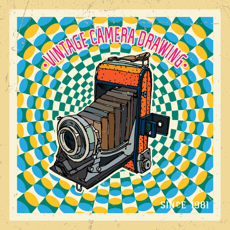 'catch the moment': Vector illustration with vintage camera Illustration