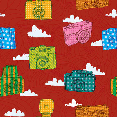'catch the moment': Seamless pattern with retro cameras and clouds on a background arrows. Illustration