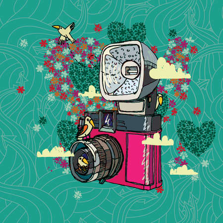 'catch the moment': Retro camera, bird and clouds on a background arrows, flowers and hearts.