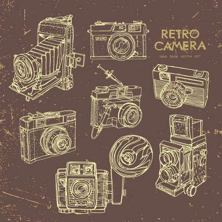 Vector illustratie van een retro camera set.