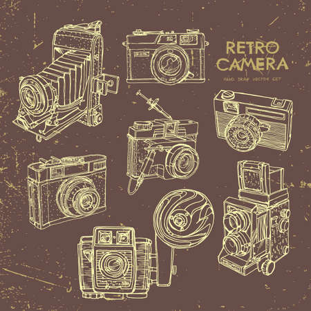 Vector illustration of an retro camera set. Иллюстрация
