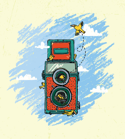 Vector illustration of an retro camera, bird and clouds on a background texture.