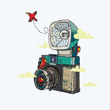 'catch the moment': Vector illustration of an retro camera and bird. Illustration